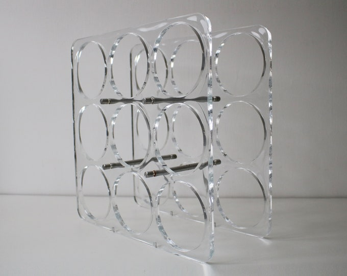 Late 20th Century Lucite / perspex / acrylic 9 bottle wine rack - space age modernist