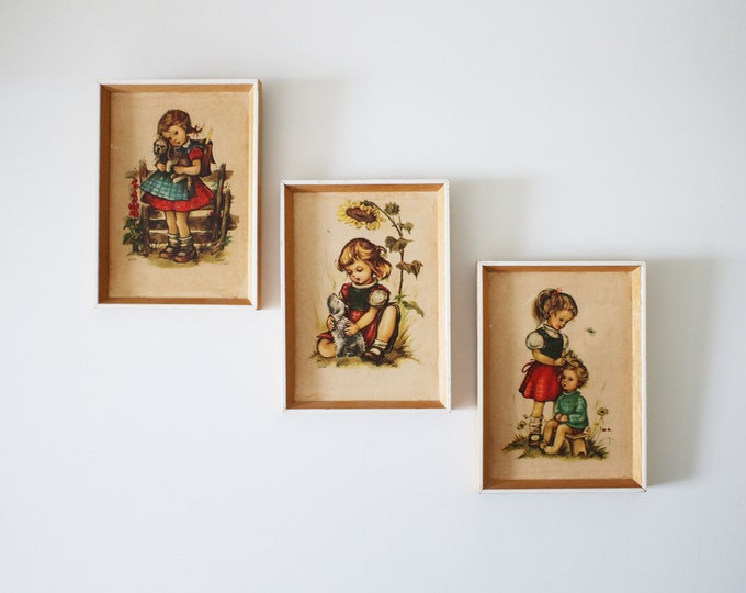 Set of 3 1960s framed prints by Hilde - no glass