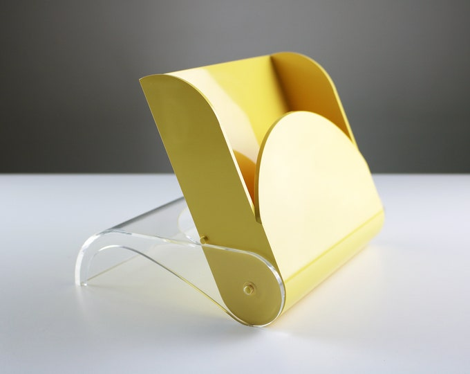 Rare 1980s Italian napkin holder in yellow and clear lucite by Guzzini - Orient Express Mediterraneo