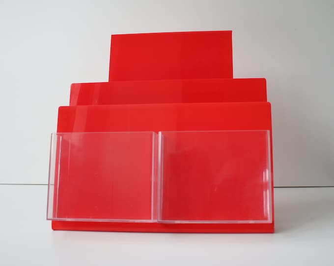 1980s red and clear lucite / perspex leaflet display rack - by PP Enterprises