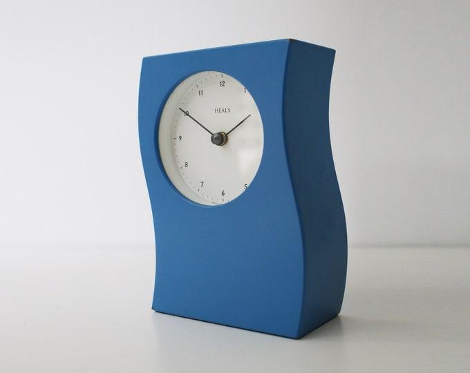 1990s Heals blue wavy mantle clock in wood - post modernism / modernist wave design