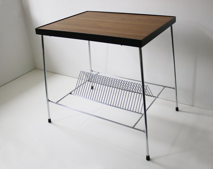 Stunning 1960s hifi table / side table with integrated vinyl record rack