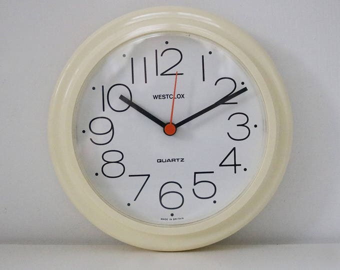 70s 80s white plastic quartz clock by Westclox 1980s 1970s