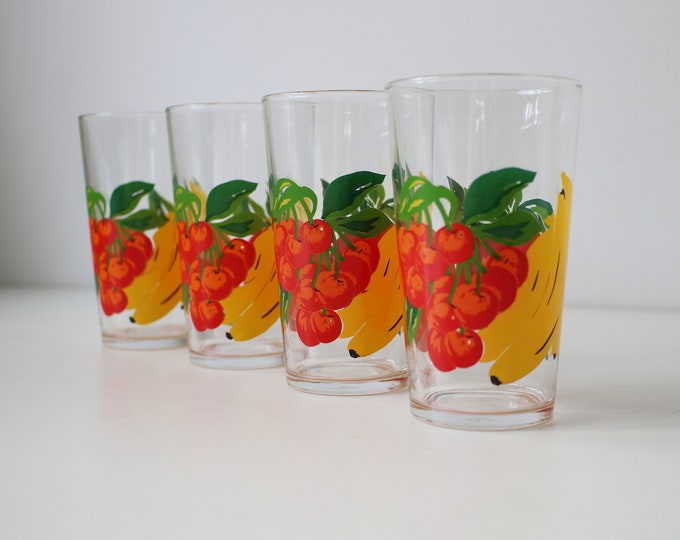 Set of 4 1970s VMC Reims (France) water or fruit tumblers