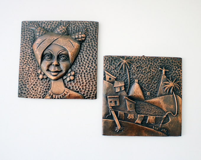Pair of mid century Brazilian copper wall plaques art - 50s Carmen Miranda and Christ the Redeemer