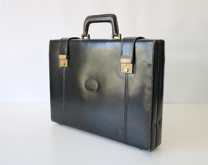 Vintage attache case / briefcase / laptop bag made in Romania with Italian fittings