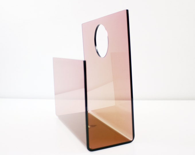 Pink smoked plexiglass / lucite magazine record rack by Ferguson Form Designs for The Design Centre
