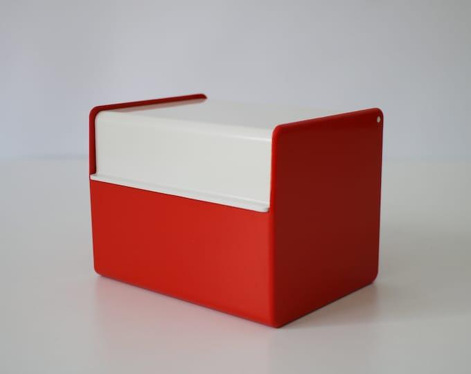 1970s index card holder box Velos 53 - retro red and white plastic