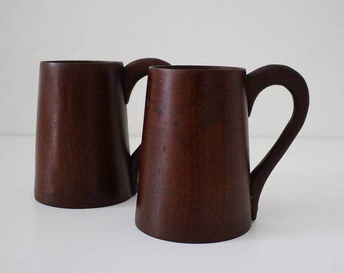 Pair of  wooden beer / coffee mugs / tankards in dark wood