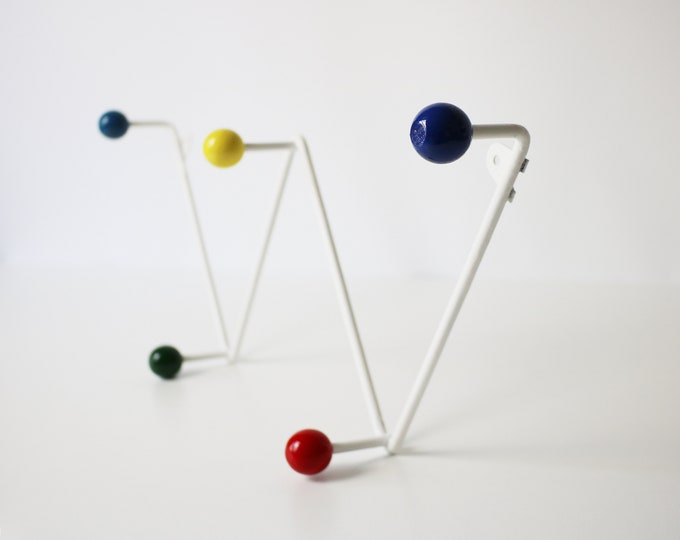 1950s atomic zigzag coat hook - fully restored white metal / brightly coloured wooden bobbles / hooks