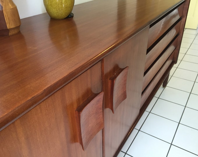 EON atomic dining suite by Elliotts of Newbury - teak and rosewood sideboard, extending table and 4 chairs mid century