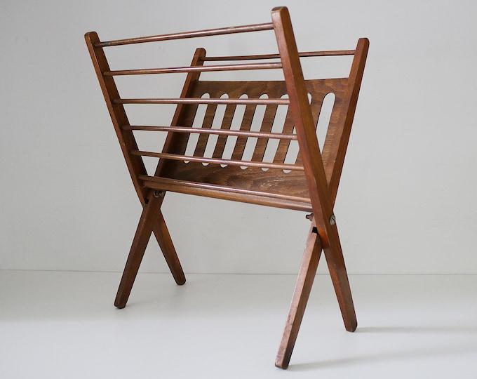 Mid Century Nasco folding wooden magazine record rack. 1950s 60s Masterpiece in Wood