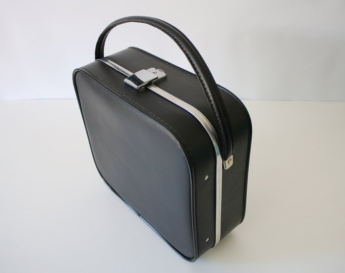 Vintage Boots overnight case / cabin bag in black and silver - make-up / jewellery / keepsakes storage