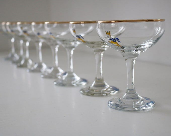 Set of 4 1970s leaping deer Babycham glasses - 2 sets available