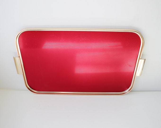 Large mid century aluminium tray in red and gold - made by Carefree 50s 60s