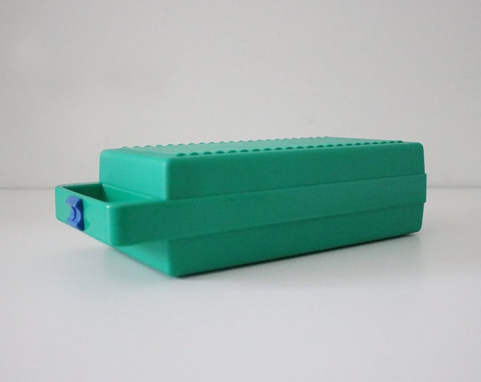 1980s portable green plastic cassette jewellery makeup storage box by Tontarelli - memphis colours green and blue