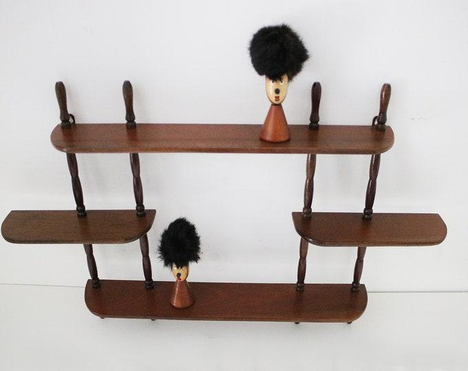 Kitsch 1960s wooden shadow box whatnot shelves / shelf unit - dark wood