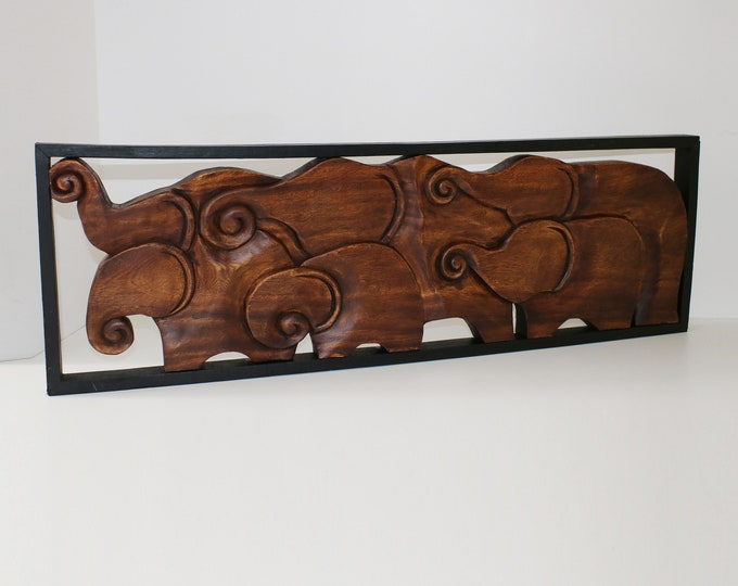 Large mid century carved elephant family wall sculpture in frame / teak oak wall art / 50s stylised elephants