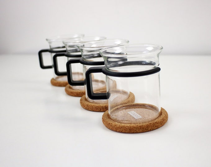 1980s Bodum Bistro set of 4 coffee cups / tea glasses with cork coasters - black plastic and glass - Karsten Jorgensen