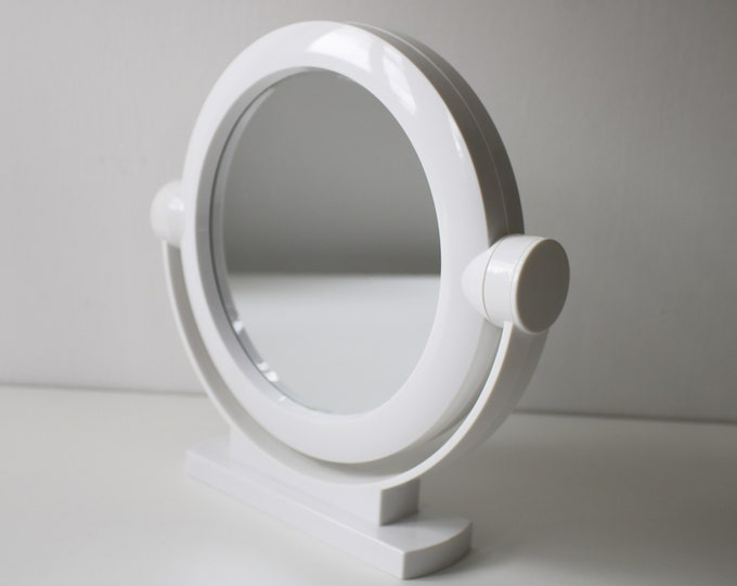 Modernist space age white plastic swivel mirror - magnifying and regular
