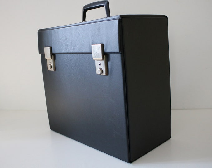 Black vinyl record case for albums, LPs, 12 inch singles - 70s 80s - heavier solid version with drop down front