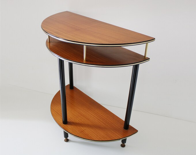 Half moon hall stand mid century rich wood veneer with black and gilt trim and dansette legs