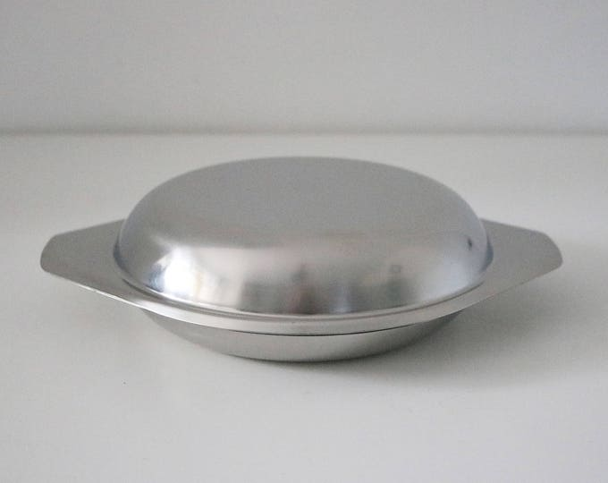 Danish mid century stainless steel serving baking dish with lid 2 parts 70s