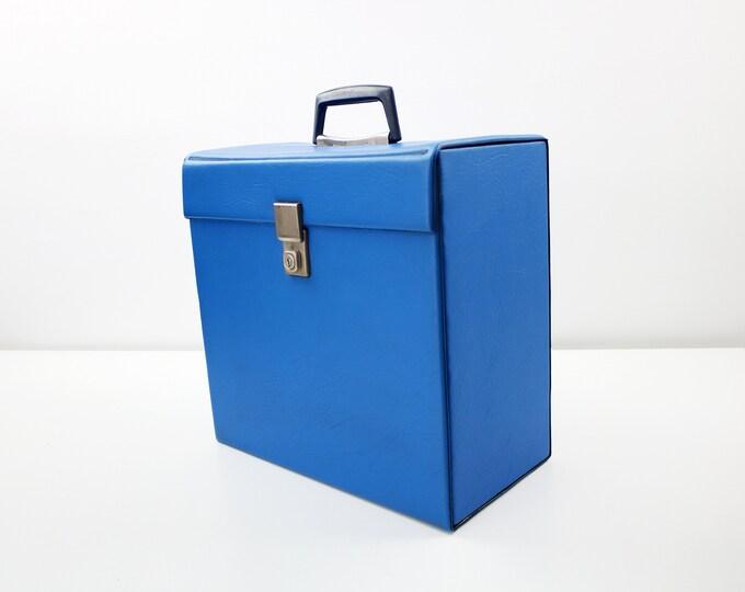 "Blue vinyl record carry case - LP album or 12"" single records storage"