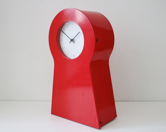1995 large red metal keyhole cabinet and clock by IKEA