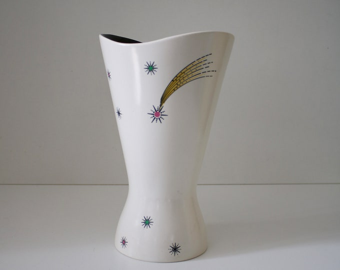 1950s Wade Shooting Star vase atomic shape with pink green yellow and black stars and black gloss interior