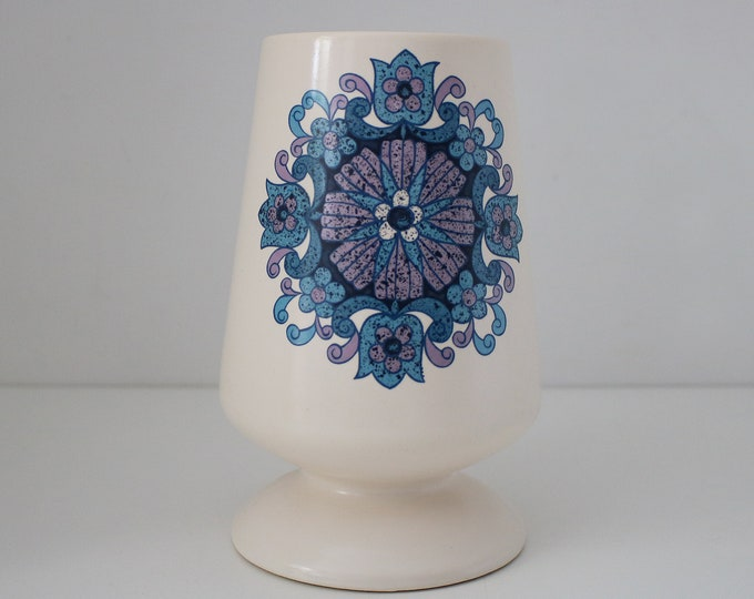 1960s 70s flower power vase by New Devon Pottery