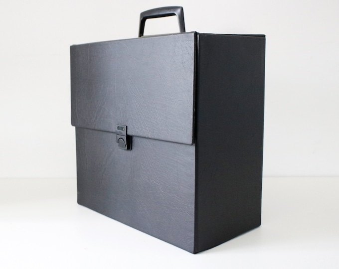 70s black record case for albums LPs 12 inch singles - single plastic clip - lighter weight version