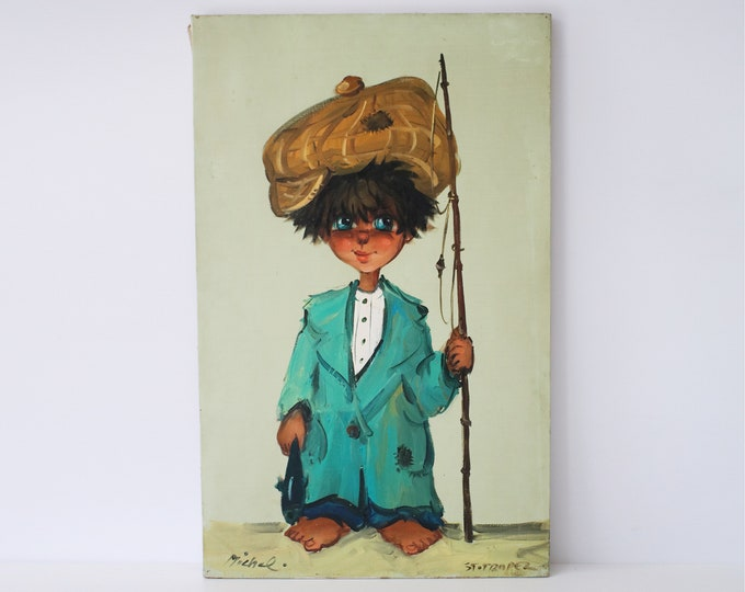 1960s / 70s original oil painting by French artist Michel T / Thomas Little Fisherman big eyed children - oil on canvas - one of 2 available