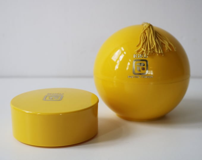1970s Kiku by Faberge yellow plastic modernist containers - globe with powder puff and trinket / soap pot