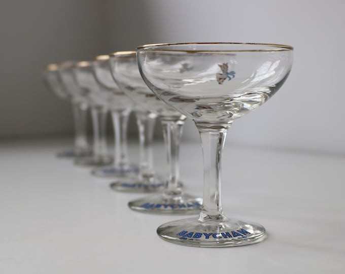 Set of 6 Babycham glasses with the 'standing deer' 1950s - 2 sets available