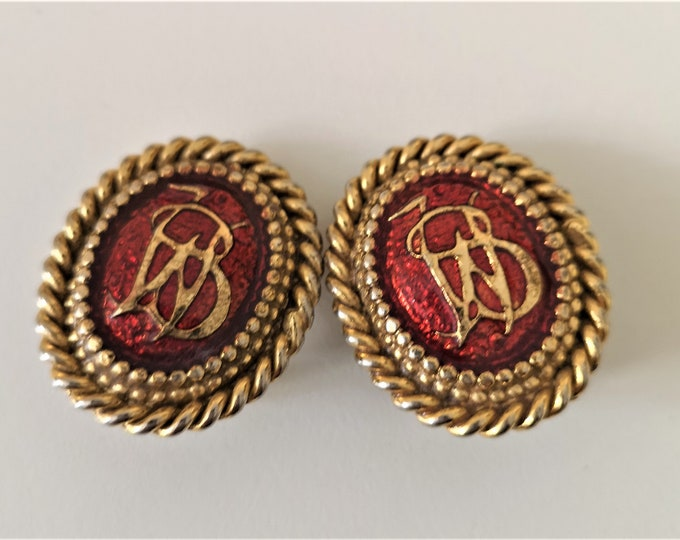 VIntage 1980s monogrammed Butler and Wilson rope earrings