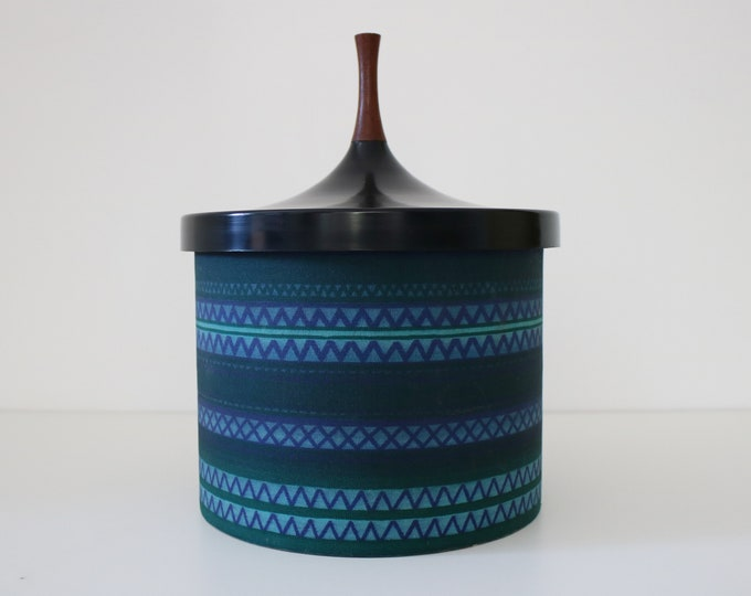 Danish 1960s ice bucket by Laurids Lonborg - wood, fabric, plastic, cork - original sticker intact