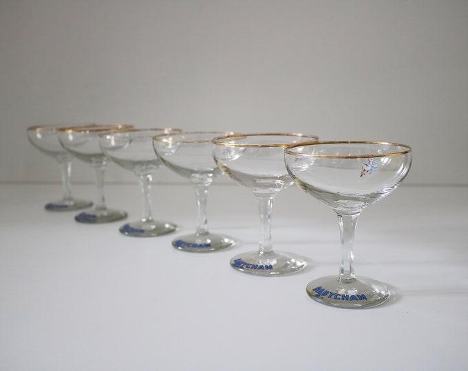 Six 1950s original Babycham glasses - standing deer (50s) version - some gold rim loss.