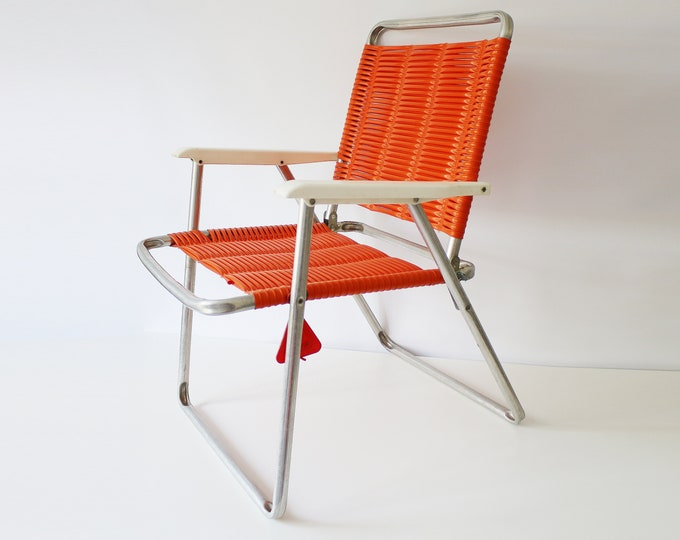 Rare West German 1970s Kurz aluminium and woven plastic string garden chair - orange with white arms