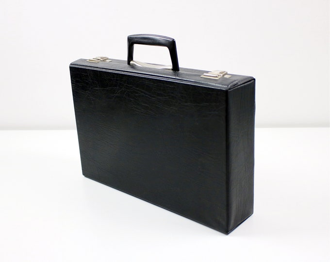 1970s cassette tape carry case / jewellery make-up document storage box in black vinyl / faux leather