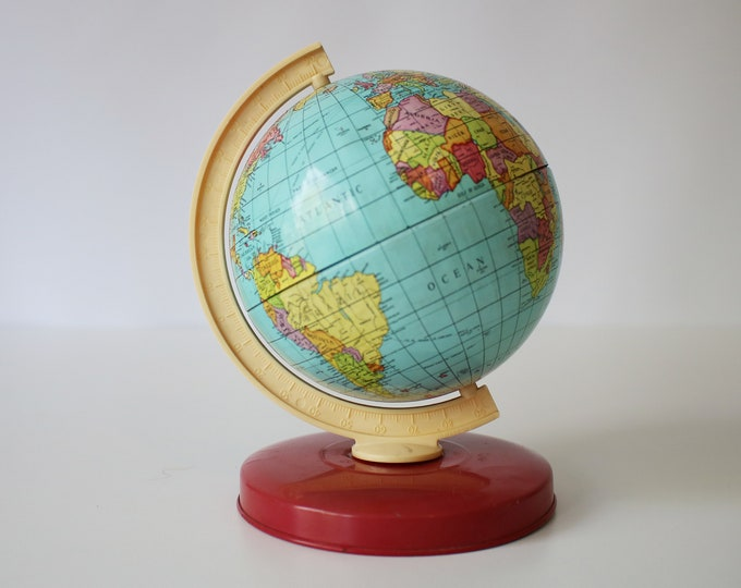 Sweet vintage tin and plastic collectible globe - possibly Chad Valley 1970s