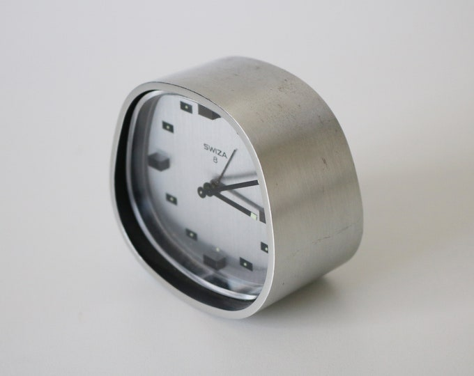 1960s Swiza space age modernist alarm clock in satin steel - Swiss 8 day movement - working