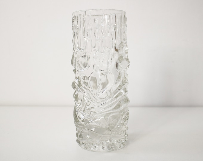 Dragon Head Sklo Union clear vase by Frantisek Peceny 1960s - no chips