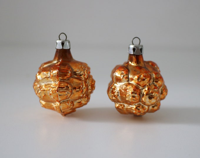 Pair of vintage moulded glass walnut Christmas tree decorations in gold