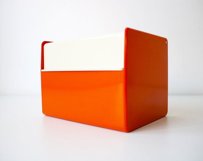 1960s 70s index card holder box Velos 53 - retro orange and off white with index dividers and cards