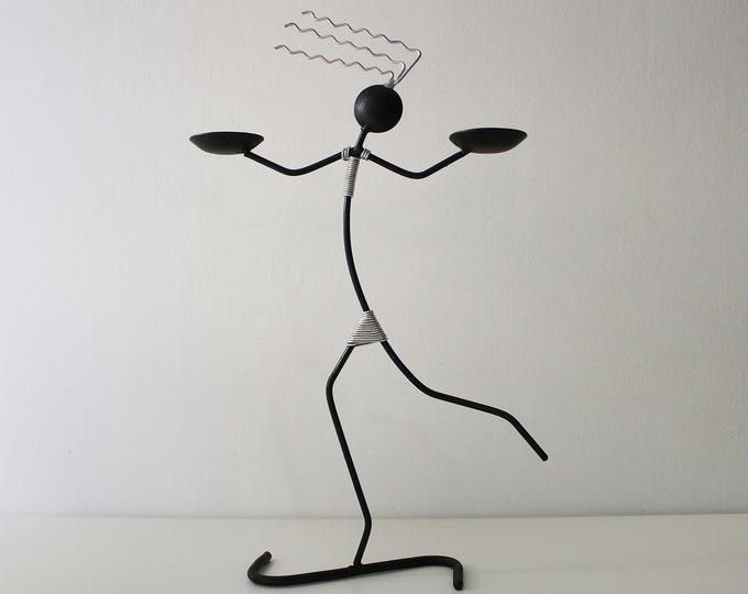 80s 90s version of Laurids Lonborg's black wire candle holder woman candlestick