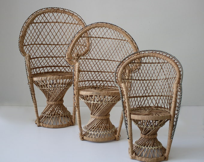 1970s original scaled rattan peacock chairs for doll or plant stand. 3 sizes available