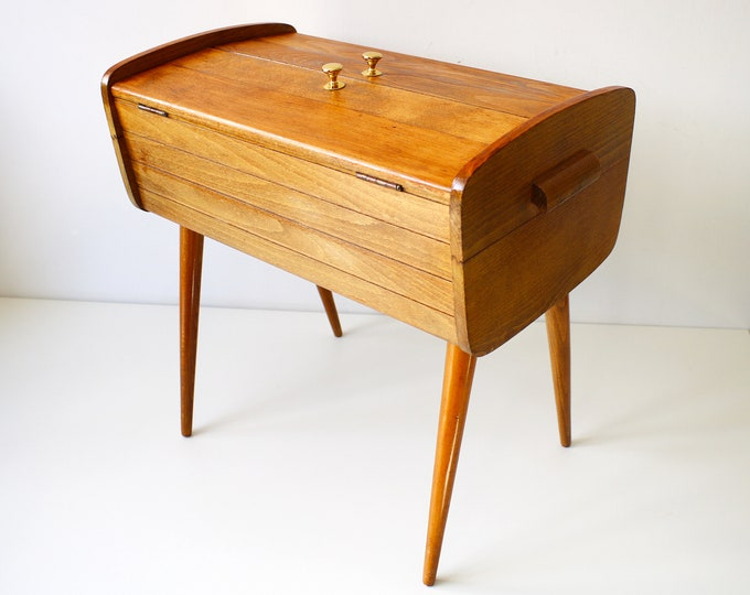 1950s sewing box on sputnik legs Danish design mid-colour wood