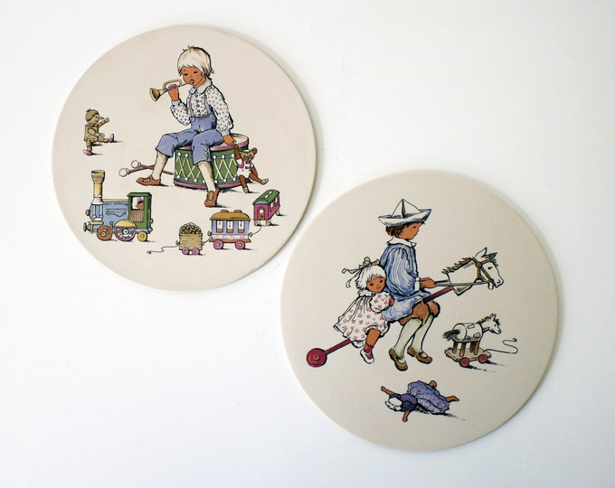 Pair of 1970s ceramic nursery plaques / trivets by Hornsea