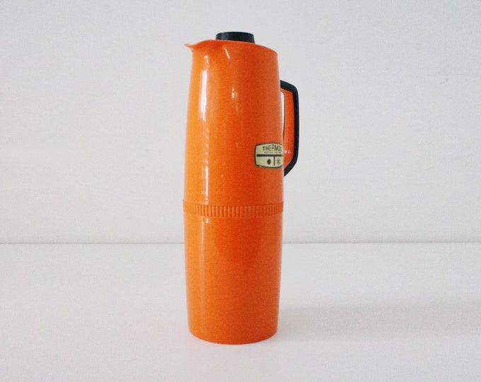 1970s bright orange and black flask by Thermos - picnics and lunches